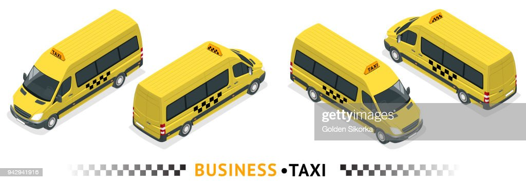 Isometric high quality city service transport icon set. Car taxi service. Minibus or Van car. Airport transfer