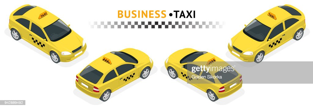 Isometric high quality city service transport icon set. Car Taxi. SUV car set on white background