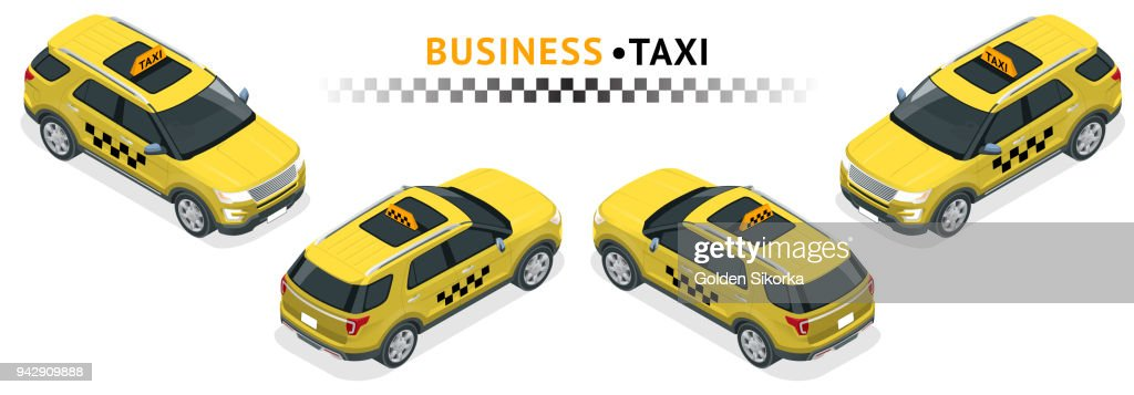 Isometric high quality city service transport icon set. Car taxi. Offroad truck