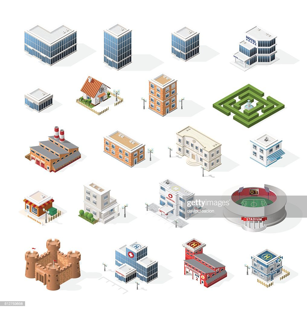 Isometric High Quality City Street Urban Buildings on White Background.