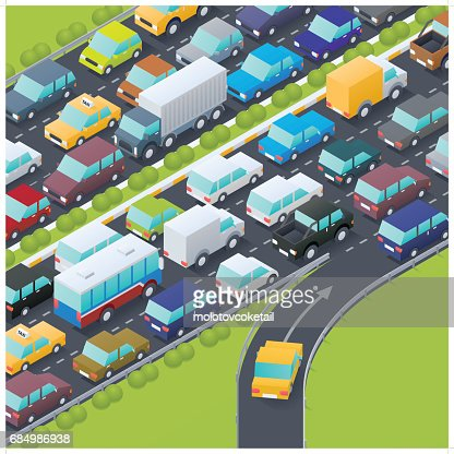 isometric highway intersection at rush hour
