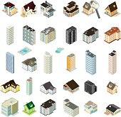 Isometric Homes Apartments and Hotels Icon Set.
