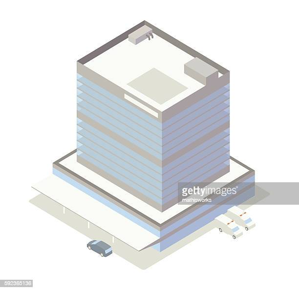 isometric hospital building illustration - mathisworks architecture stock illustrations