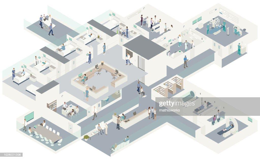 等尺性病院断面図 : ストックイラストレーション