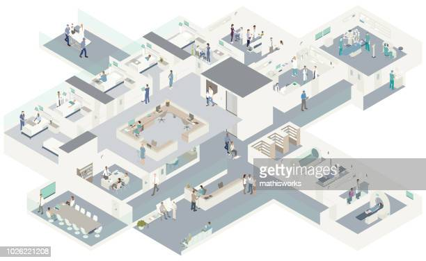 isometric hospital cutaway - mathisworks architecture stock illustrations