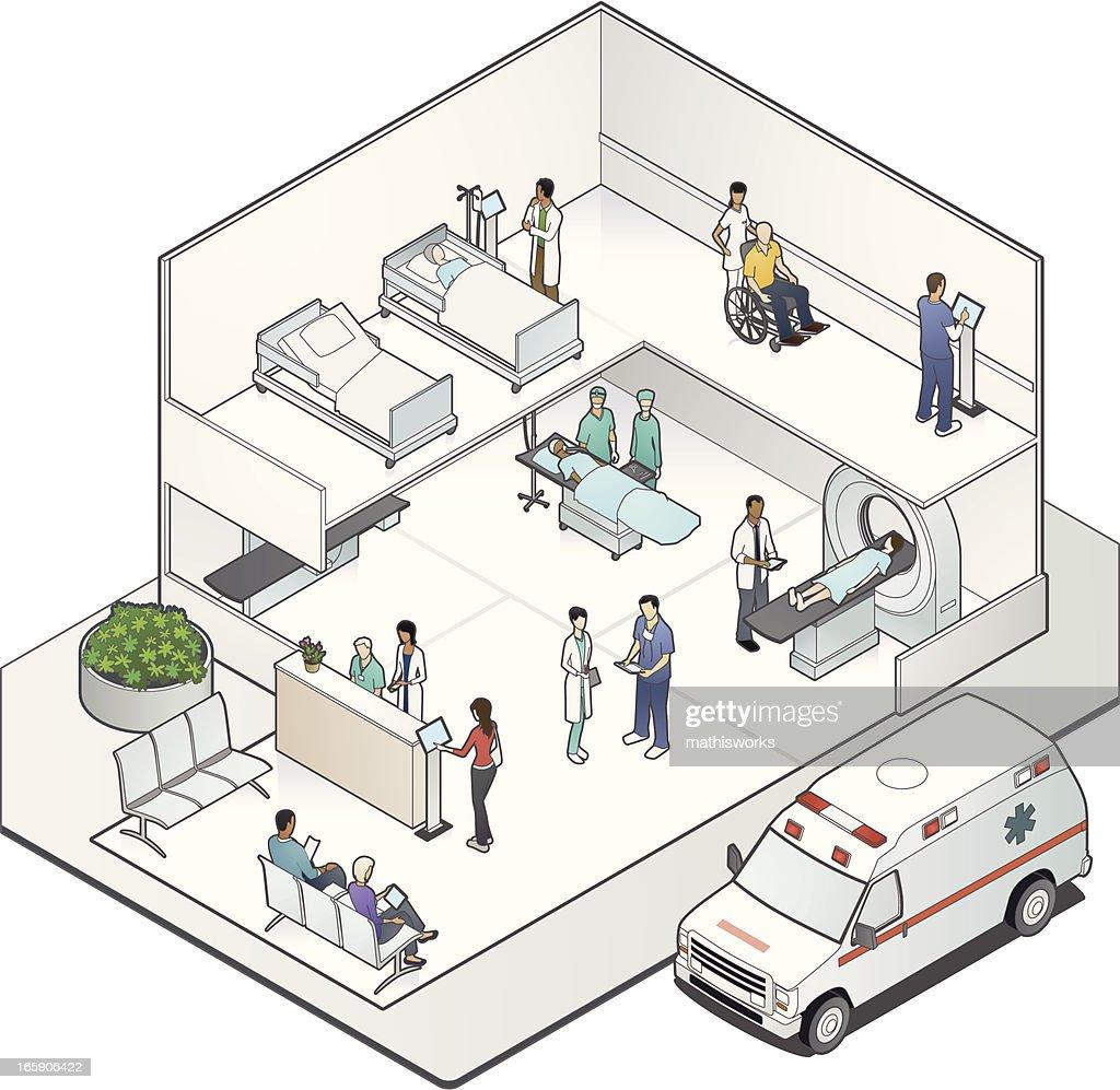 Isometric Hospital Cutaway : Vector Art