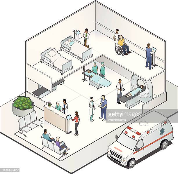 isometric hospital cutaway - cutaway drawing stock illustrations