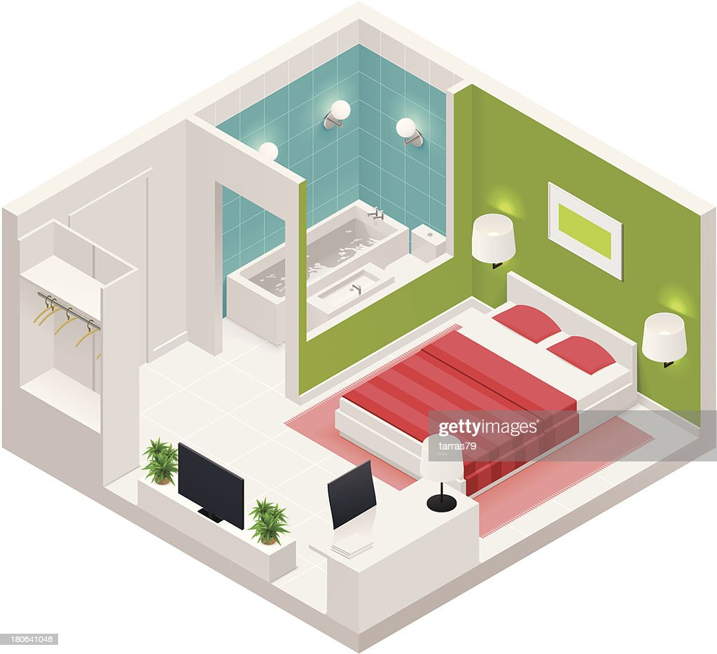 Isometric hotel room icon