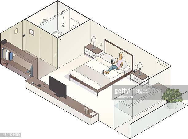 Isometric Hotel Room Illustration