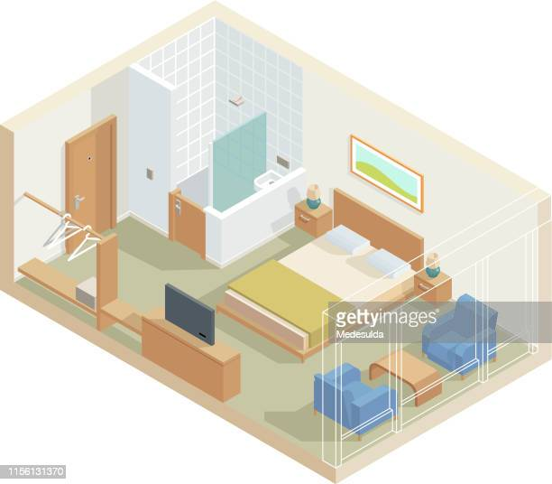 isometric hotel room with, tv, bathroom and armchair - bed furniture stock illustrations