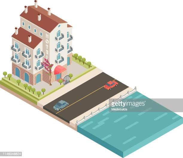 stockillustraties, clipart, cartoons en iconen met isometrisch hotel - verblijfsoord