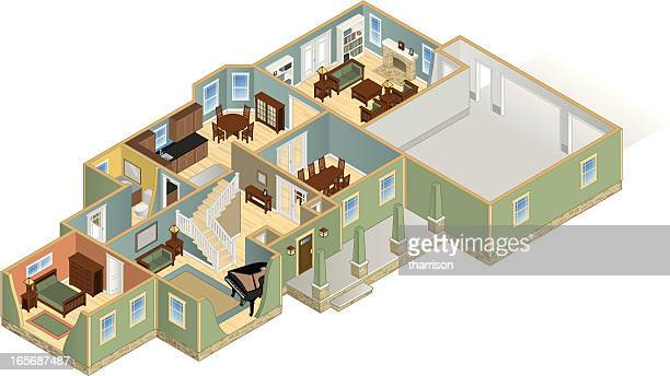isometric house cutaway four - cutaway drawing stock illustrations