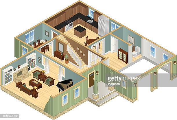 isometric house cutaway - cutaway drawing stock illustrations