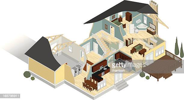 isometric house floor plan cut away - cutaway drawing stock illustrations