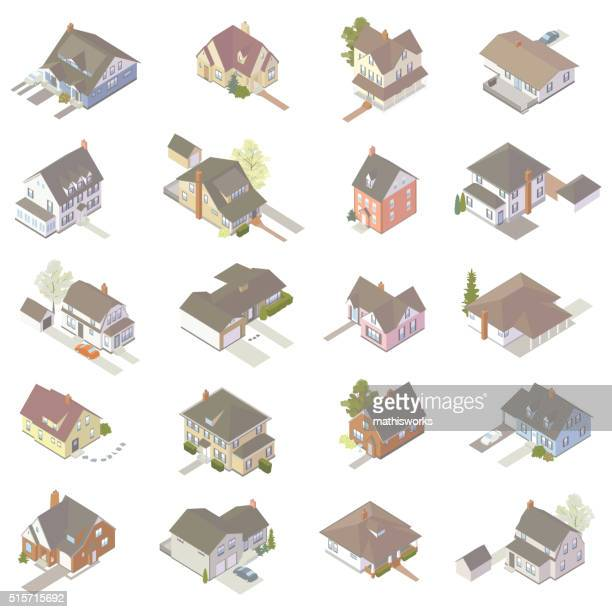 isometric house icons - house exterior stock illustrations, clip art, cartoons, & icons