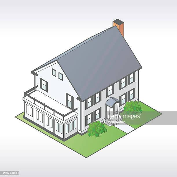 isometric house illustrationen - mathisworks stock-grafiken, -clipart, -cartoons und -symbole