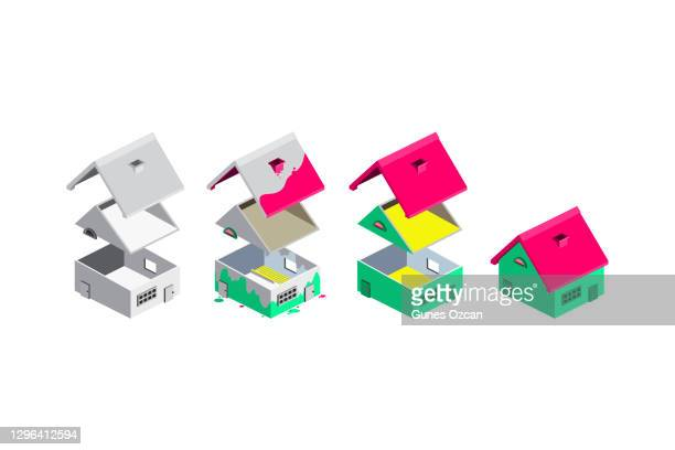 isometric house refurbishment, renovation steps, repair, house improvement progress - real estate developer stock illustrations