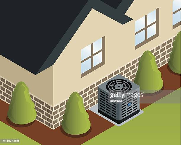 isometric house with air conditioner - air duct stock illustrations