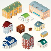 Isometric Houses, Dwellings, Cabins