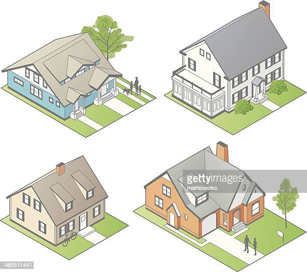 isometric houses illustration - mathisworks architecture stock illustrations