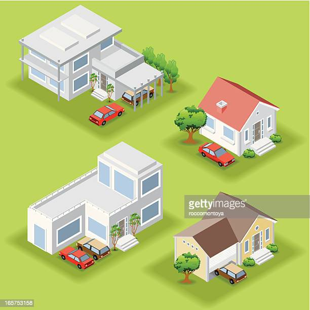 isometric houses - house exterior stock illustrations, clip art, cartoons, & icons