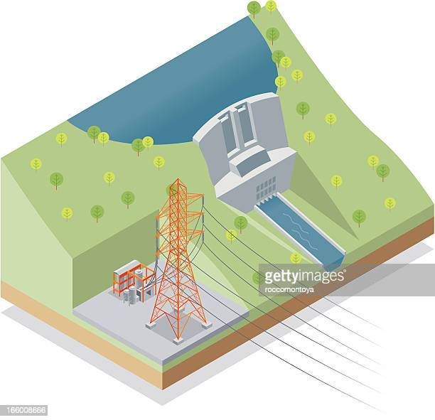 isometric, hydroelectric power station - turbine stock illustrations, clip art, cartoons, & icons