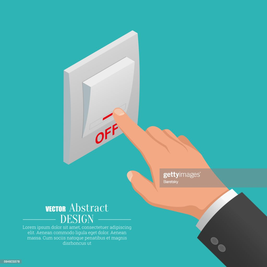 Isometric icon of electrical light wall switch