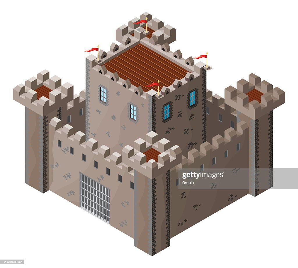Isometric icon of medieval stone castle. Vector illustration.