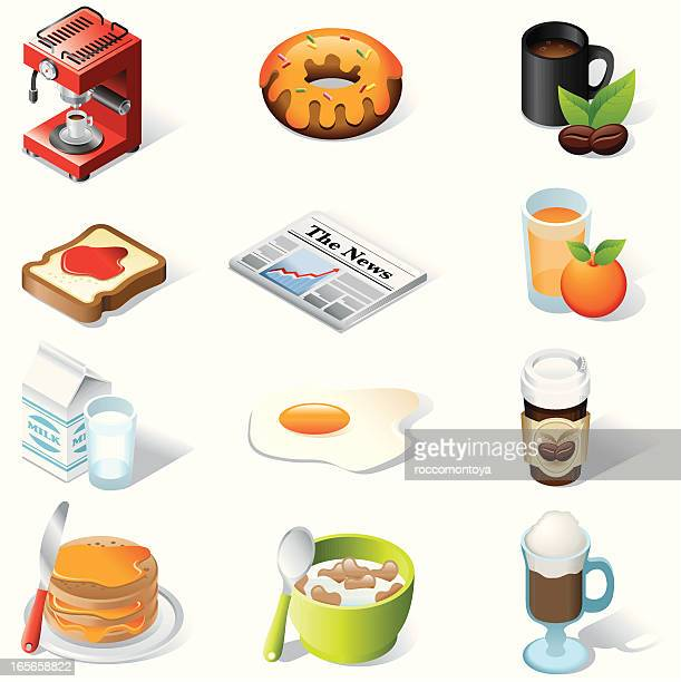 isometric icons, breakfast - juice drink stock illustrations, clip art, cartoons, & icons