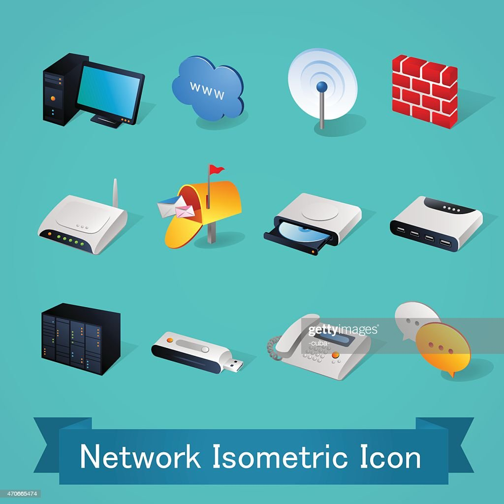 Isometric icons | Network - Illustration