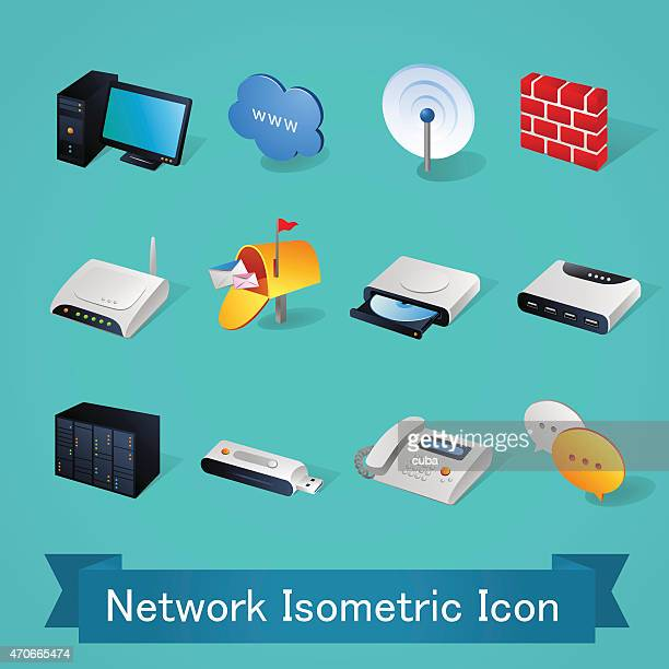 isometric icons | network - illustration - dvd stock illustrations
