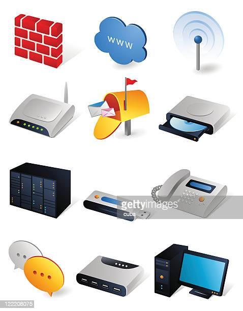 isometric icons | network - usb stick stock illustrations, clip art, cartoons, & icons