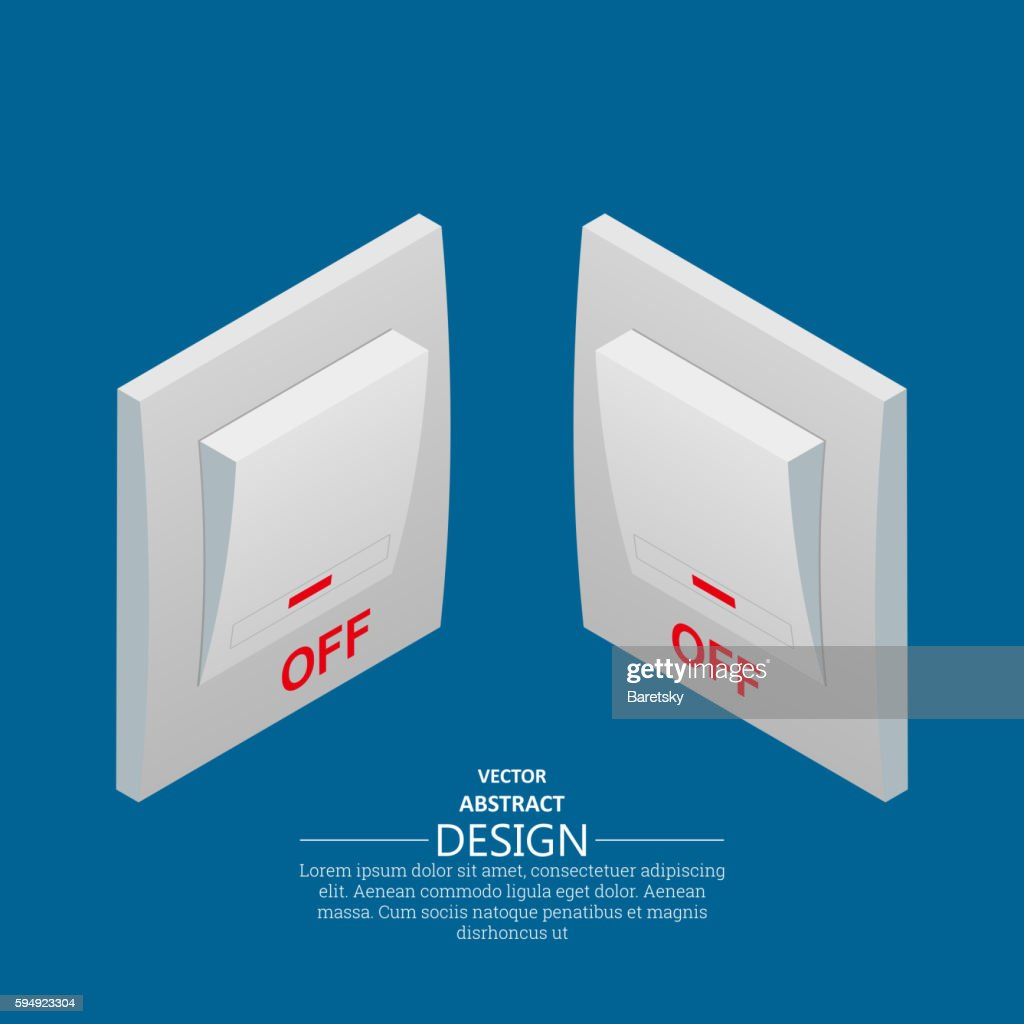 Isometric icons of electrical light wall switch