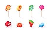 Isometric icons set of  sweet lollipops