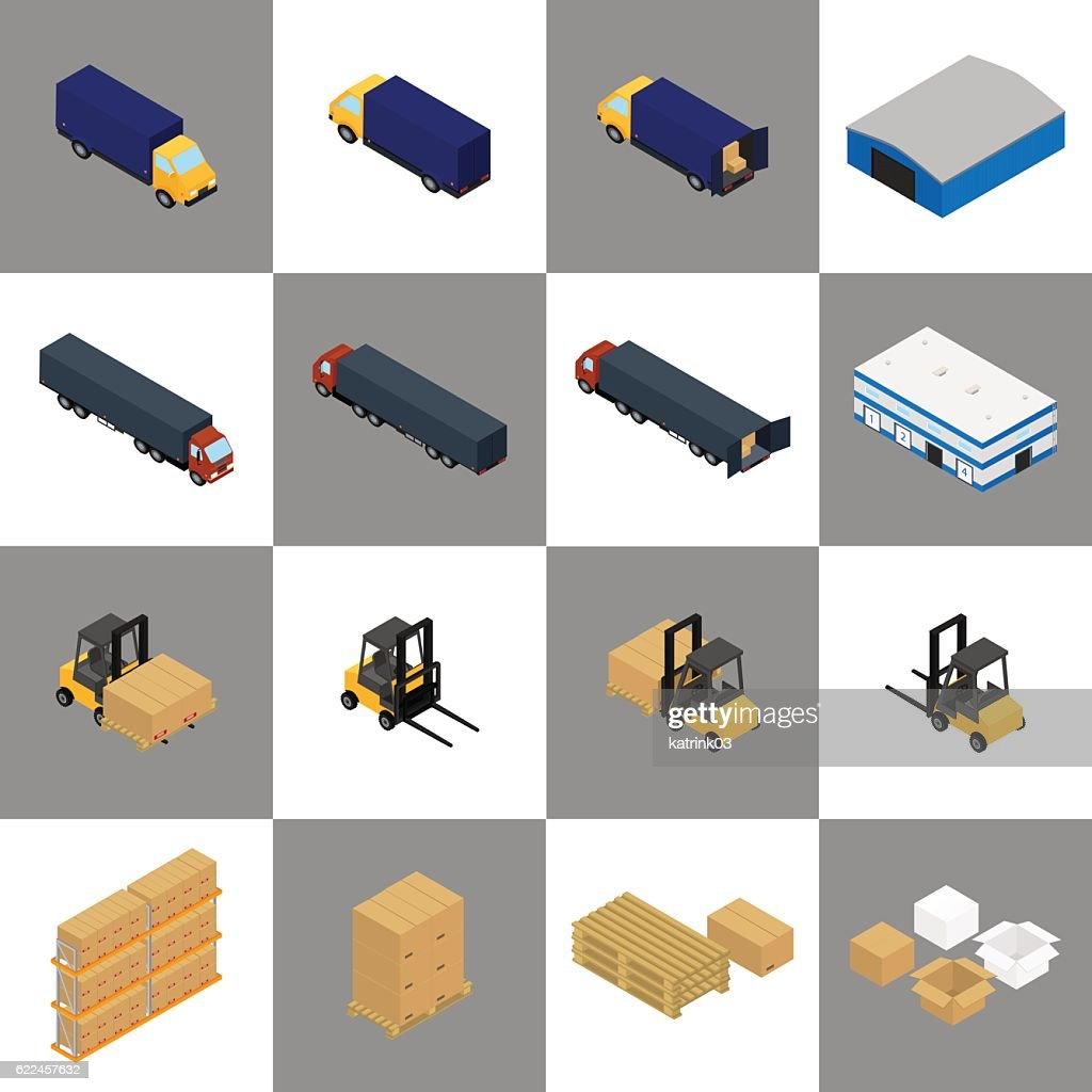isometric icons storage, packaging and delivery