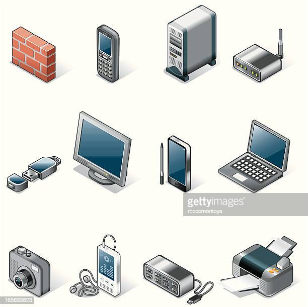 isometric icons, technology - usb cord stock illustrations, clip art, cartoons, & icons