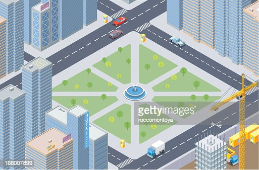 Isometric illustration of a cityscape