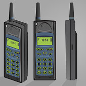 Isometric Illustration of old mobile phone vector