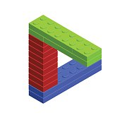 3D isometric incredible figure from plastic construction bricks.