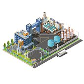Isometric Industrial area, plant, hydroelectric