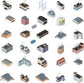 Isometric Industrial Buildings Icon Set.