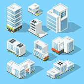 Isometric industrial buildings, offices and manufactured houses. 3d map vector illustration set