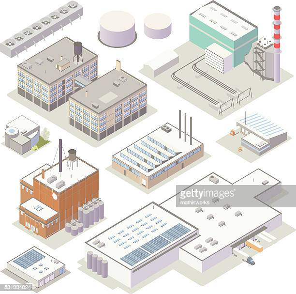 isometric industrial buildings - plant stock illustrations