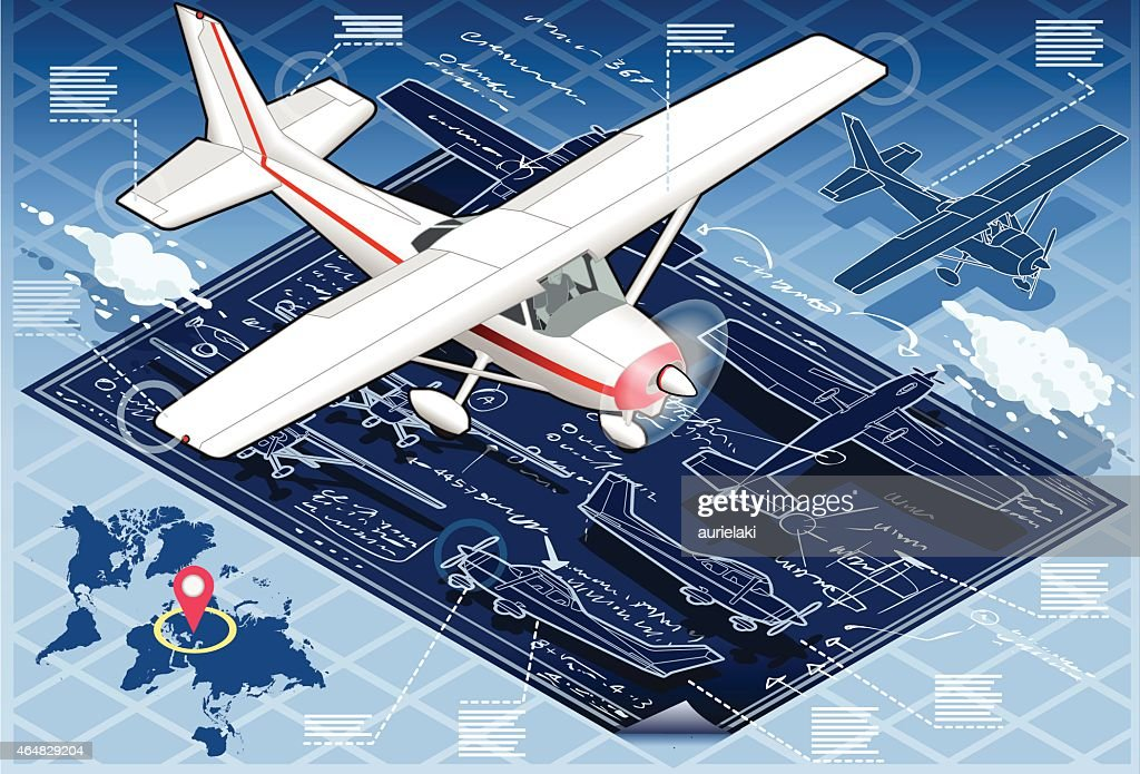 Isometric Infographic Airplane Blue Print