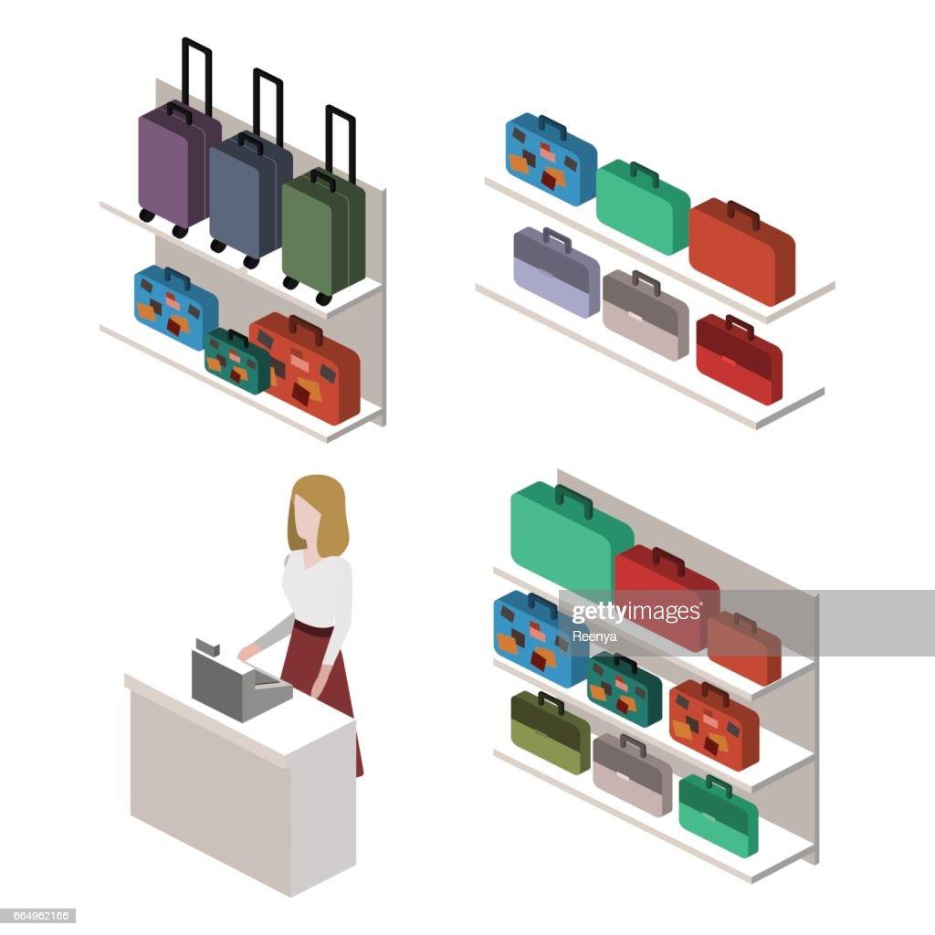 isometric infographic.Flat interior of luggage shop.