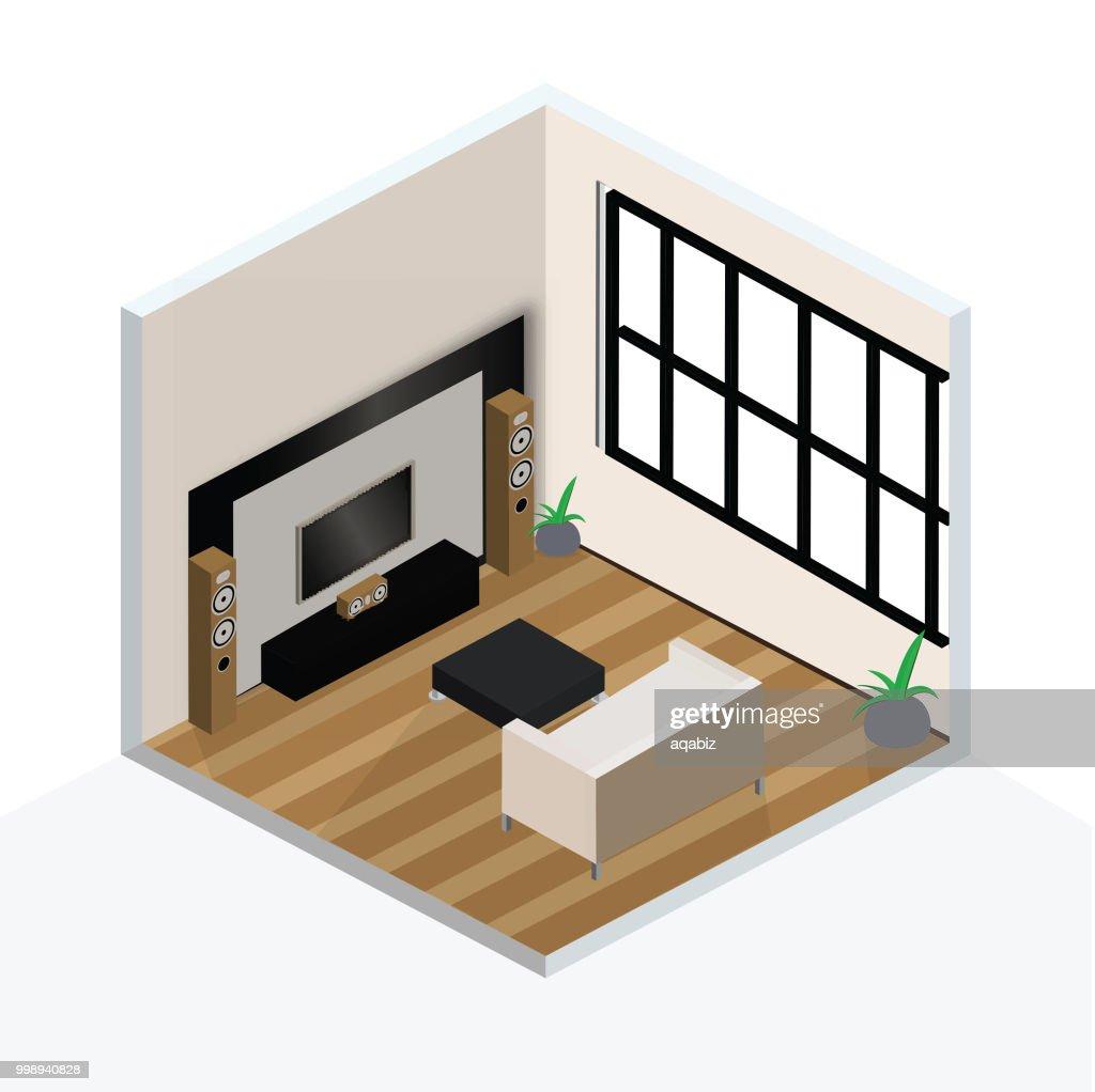 3D isometric interior design of  living room.3D isometric interior design of  living room.