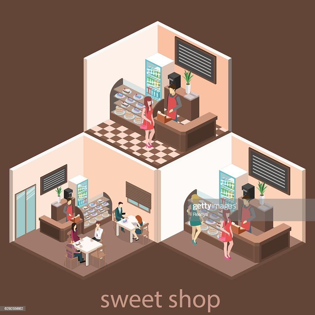 Isometric interior of sweet-shop.