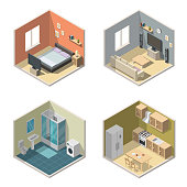 Isometric interior vector illustration modern set of bathroom, kitchen, living room, bedroom.