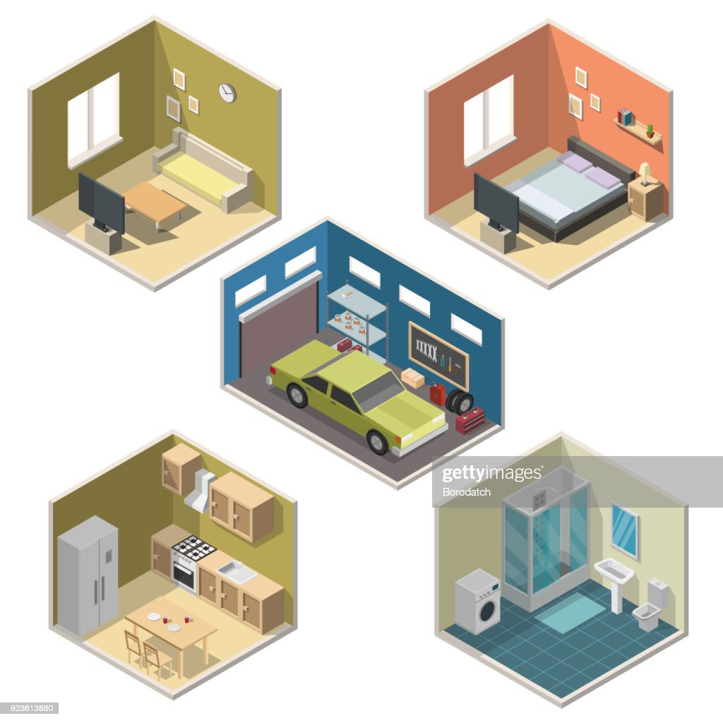 Isometric interior vector illustration modern set of bathroom, kitchen, living room, bedroom, garage.