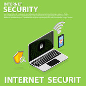 3D isometric internet security flat icons banner template design